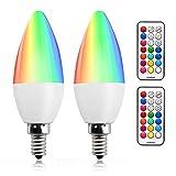 Bonlux 3W E14 RGB Dimmable bougie Ampoule LED couleur changeable RGB+Blanc Chaud 12...