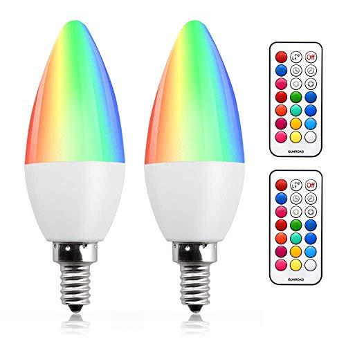 Bonlux 3W E14 RGB Dimmable bougie Ampoule LED couleur changeable RGB+Blanc Chaud 12 couleurs fonction de mémoire et minuterie RGBW E14 petit à vis bougie lampe pour maison/décoration/fête/KTV (2pcs)