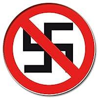 Hakenkreuz durchgestrichen Button 25mm mit Bogennadel gegen Nazis Anstecker