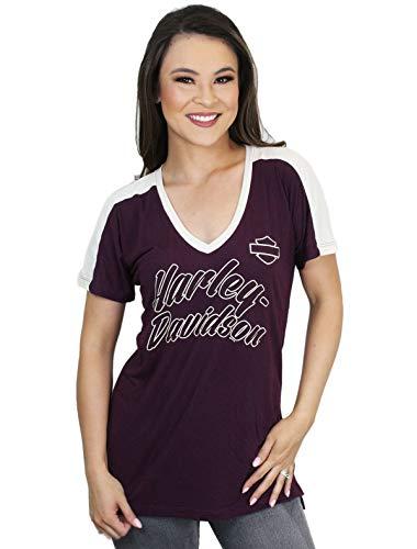 Harley-Davidson Womens Spark Plug Power Dolman V-Neck Purple Short Sleeve T-Shirt (X-Large)