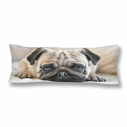 InterestPrint Funny Pug Dog Body Pillow Covers Pillowcase with Zipper 21x60 Twin Sides, Hipster Animal Rectangle Body Pillow Case Protector for Home Couch Sofa Bedding Decorative