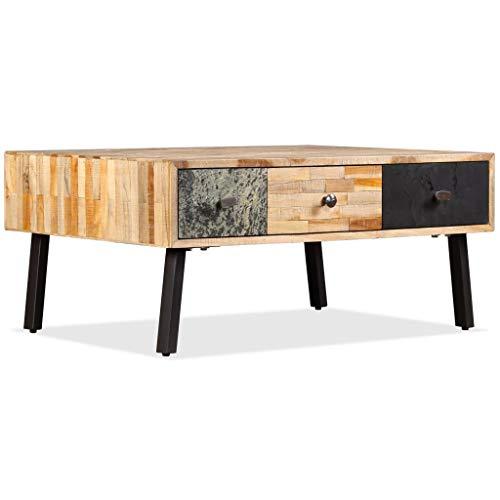 vidaXL Table Basse Teck de Récupération Massif Table d'Appoint Meuble de Salon