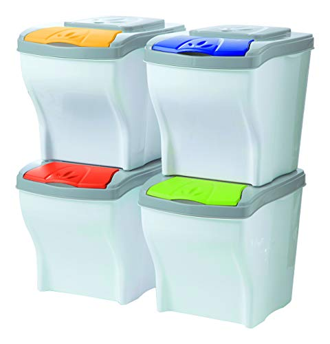 SF SAVINO FILIPPO Mobile pattumiera contenitori componibili 4PZ x 20LT per Raccolta differenziata rifiuti bidoni Secchio