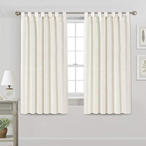 Light Reducing Natural Linen Curtains for Living Room/Bedroom Privacy Assured Semi Sheer Textured Flax Curtain Draperies Light Filtering Soft and Durable, Tab Top 2 Panels (52\' W x 63\' L, Ivor