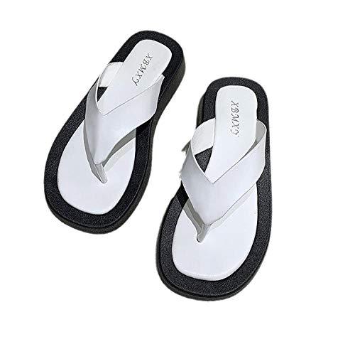Slim Zehentrenner,Classic Unisex-Erwachsene Flip Flops,Plattform Flip Flops, lässige Hausschuhe-weiß_40