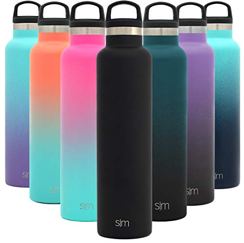 Simple Modern 24oz Ascent Water Bottle - Hydro Vacuum Insulated Tumbler Flask w/Handle Lid - Double Wall Stainless Steel Reusable - Leakproof -Midnight Black