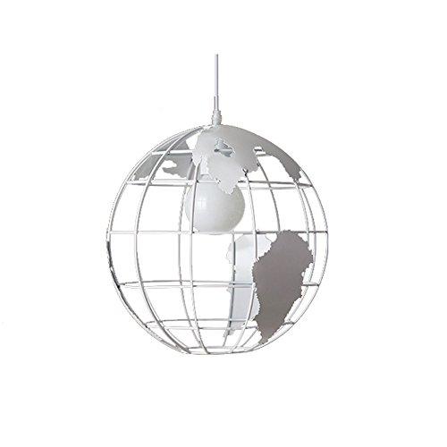 Wings of wind - Moderne Plafonnier World Map Chandelier E27 Light Colorful verre Abat (blanc)