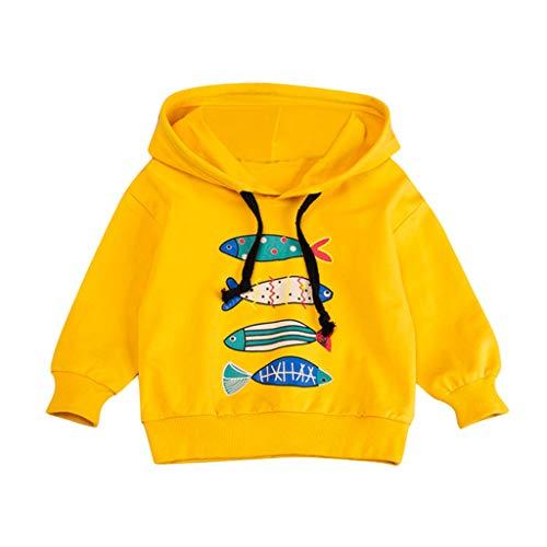 FRAUIT Jungen Mädchen Hoodie Sweatshirt Fisch Druck Kapuzenpullover Sport Freizeit Pullover Mit Kapuzen Cool Kinder Kapuzenjacke Weich Bequem Mode Streetwear