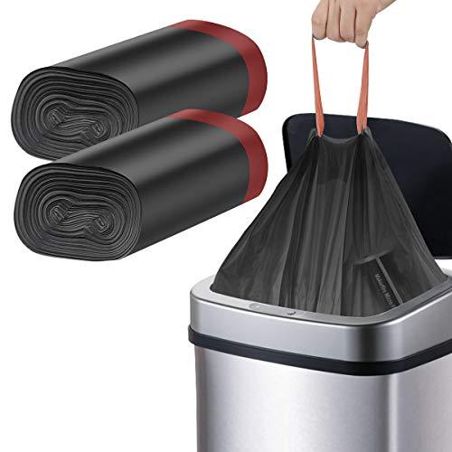 Bolsas de Basura 20L 180 Piezas 45 x 50cm Sacos de Basura con Cordón 100% Reciclaje Reciclado Negro Papelera Bolsa para el Hogar La Cocina el Baño La Oficina (Negro)