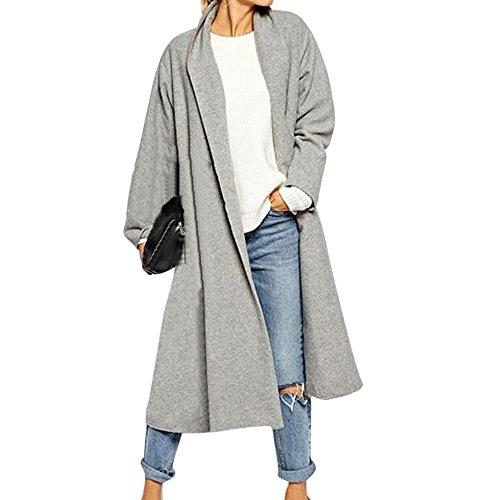 iHENGH Damen Kardigan Top,Ladies Fashion Offene Vordere Grabenmantel Lange Mantel Jacken üBer Fell Wasserfall Cardigan Outwear Coat Tops (EU-44/CN-4XL,Grau)