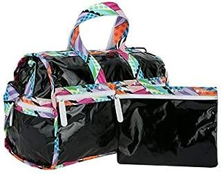 LeSportsac Jason Woodside, Black Dimension Patent Medium Weekender Crossbody Bag + Cosmetic Bag, Style 7184/Color G419