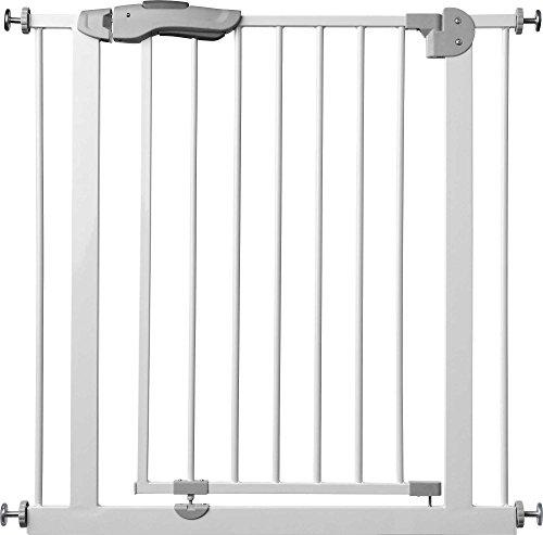 ib style®Kaya - Das Premium Treppengitter  Haustiergitter  Türschutzgitter   Kein Bohren!   75-175cm   Weiß-Grau  140-150 cm
