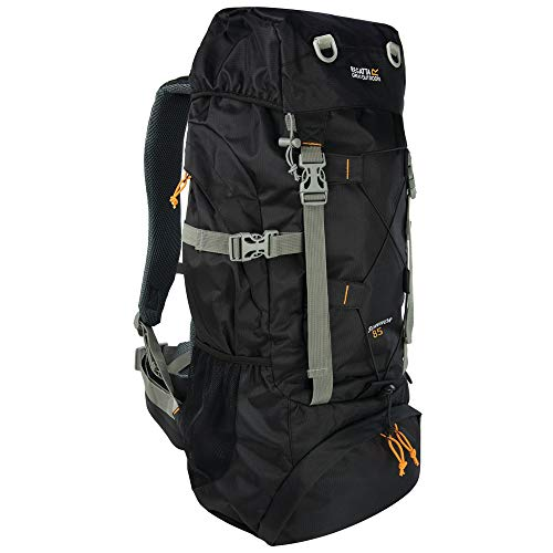 Regatta Survivor III Hardwearing Padded Camping and Hiking Rucksack - Black, 65 Litre