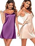 Women Sleepwear 2 Pack Chemise V-Neck Full Slip Babydoll Nightgown Sexy Lingerie for Women