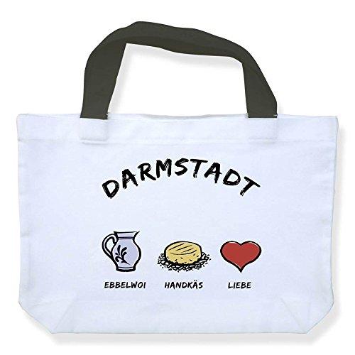 Einkaufstasche Darmstadt: Ebbelwoi-Handkäs-Liebe - als Geschenk für Darmstädter & Fans der Stadt des Jugendstils oder als Darmstadt Souvenir - die stadtmeister