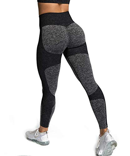 ShinyStar Damen Sport Leggings Nahtlos Elastische Kompressions Yoga Fitnesshose mit Hohe Taille für Workout Gym Joggen Trainings Schwarz M