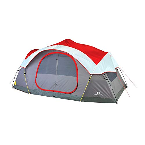 Outbound 8-Person Dome Tent for Camping with Carry Bag and Rainfly | Easy Up & Water Resistant | 3 Season | Red
