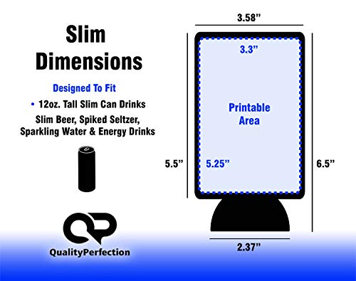 QualityPerfection - 6 Multi Color Slim Can Cooler Sleeves - Beer Blank Skinny 12 oz Neoprene Coolies - Perfect For 12 oz Slim Red Bull, Michelob Ultra, Spiked Seltzer,Truly,White Claw