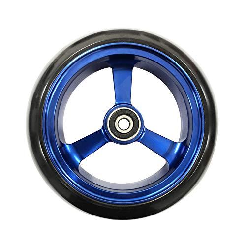 RIANTWHEEL, 5 X 1.4 inch, Solid, PU Wheels, Wheelchair Casters, Aluminum Rim, one Pair (Blue)