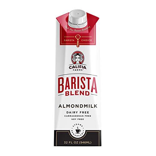 Califia Farms – Almond Milk, Original Barista Blend, 32 Oz (Pack of 6) | Shelf Stable | Dairy Free | Nut Milk | Creamer | Plant Based | Vegan | Non-GMO | Gluten Free | No Sugar Added