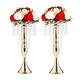 LANLONG 2pcs 43cm (17') Centro de Mesa de Boda Alto, sostenedor de Vela, candelabro, Soporte de Flor de Plomo de Carretera, decoración de Navidad de la Boda casa (Oro, 17')