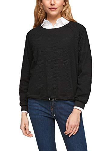 s.Oliver Damen Strukturiertes Shirt mit Elastikbund black 44
