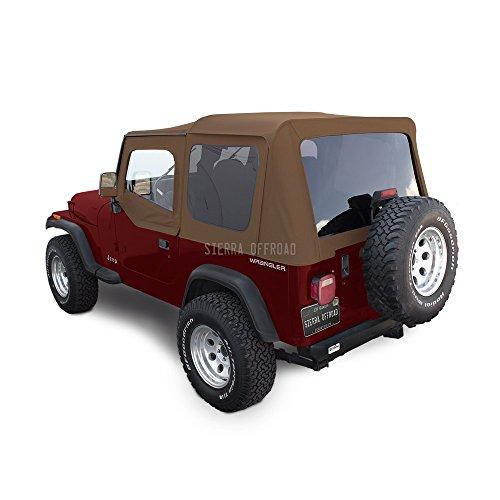 Sierra Offroad Soft Top Fits 1988-1995 Jeep Wrangler YJ 2DR, Includes Upper Door Skins, Sailcloth Vinyl, Spice