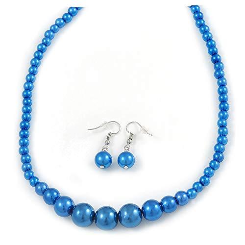 Avalaya - Juego de collar y pendientes de gota con cuentas de cristal azul eléctrico y chapado en plata, 44 cm de largo y 4 cm de ext.