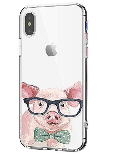 AIsoar Coque Compatible pour Iphone X/iPhone XS (5.8),de Protection Transparente Silicone Antichoc TPU Ultra Mince Housse arrière Résistant aux Rayures Couverture (Cochon)