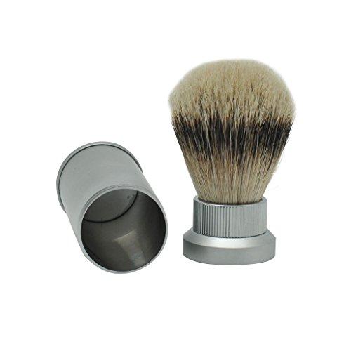 Mini Size Portable Silvertip Badger Hair Travel Shaving Brush with Frosted Aluminum Tube