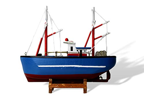 Barco de pesca modelo de madera con diseño de casco azul con toques de acabado de pesca realistas