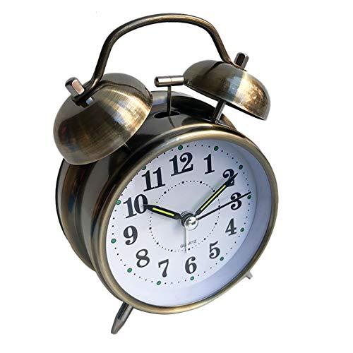 Kuizhiren1 Retro-Analogwecker, 10,2 cm, rund, leuchtend, Quarz-Wecker mit Doppelglocke, Quarzuhr, Nachttischuhr, lauter Alarm, batteriebetrieben mit Nachtlicht Ancient Bronze