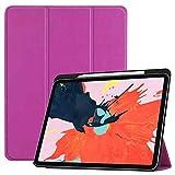 Skhawen para iPad Pro 12.9 2018,Dibujos Animados Slim Lápiz Cover Smart Auto Sleep Wake Up Stand PU Funda para iPad Pro 12.9 2018 (Color : Purple)