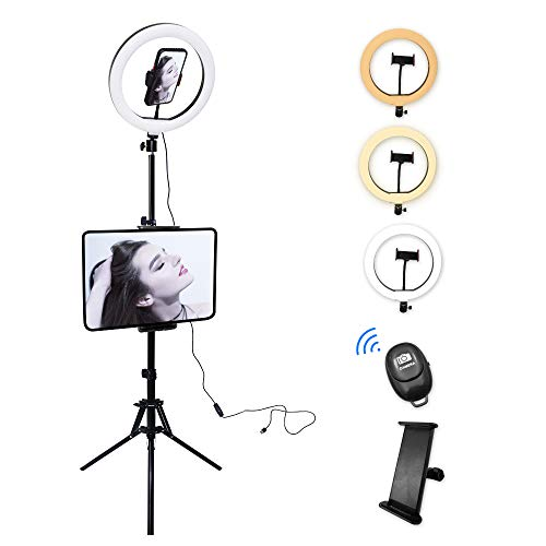 "CLEMARS- Anillo de Luz Trípode LED 10.2"", Aro de Luz con Trípode Soporte de 1.60 m para Tablet/Móvil con Control Remoto Bluetooth, 3 Modos Luz + 11 Niveles Brillo para tiktok, Youtube, Live."