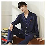 DHDHWL Pijamas para hombre, pijama de caballero, ropa para el hogar, color azul puro, casual, ropa para el hogar, pijama de manga larga, conjunto de pijama casual (color: azul oscuro, talla: XL)