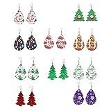 Happyyami 10 Pares de Pendientes de Pu de Tema Navideño Orejeras de Cuero con Forma de Lágrima Árbol de Navidad Copo de Nieve Campana Pendientes Colgantes Gorro de Navidad Gota para El Oído
