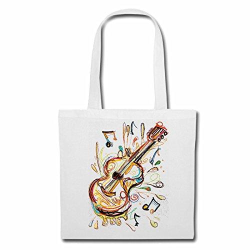 Tasche Umhängetasche Gitarre Geige BASS Vintage Techno Jazz Funky Soul Trance Festival House Hiphop HIP HOP DJ Einkaufstasche Schulbeutel Turnbeutel in Weiß