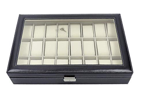 Scatola per disporre orologi con 24 scomparti, realizzata in similpelle