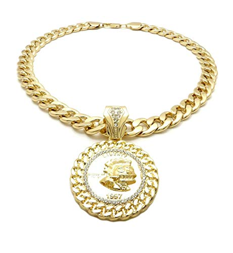 BLINGFACTORY Hip HOP ICED Kodak Black Pendant & 11mm 18' Cuban Chain Necklace
