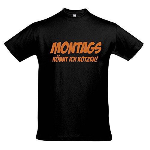 T-Shirt MONTAGS KÖNNT ICH KOTZEN - FUN KULT SHIRT S-XXL , Deep black - orange , XXL