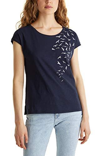 edc by ESPRIT Damen 040CC1K343 T-Shirt, 400/NAVY, XS