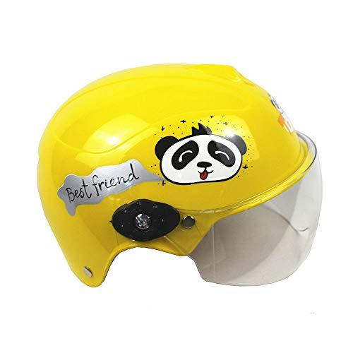 ZYW Kinderhelm Kinder Baby Karikatur Vier Jahreszeiten Batterieauto Helm Jungen und Mädchen Fahrrad Sonnenschutz Maske Helm 2-12 Jahre alt,Grün