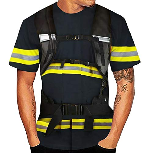 Camiseta de Manga Corta para Hombre Diseño de impresión 3D Verano Casual Moda Cómodo Top con Cuello Redondo Camisetas Deportiva Estampada Funny 3D T Shirt Estilo Bombero Armada XL