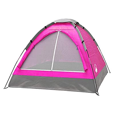 2 Person Dome Tent- Rain Fly & Carry Bag- Easy Set Up-Great for Camping, Backpacking, Hiking & Outdoor Music Festivals by Wakeman Outdoors (Pink), 2 Person