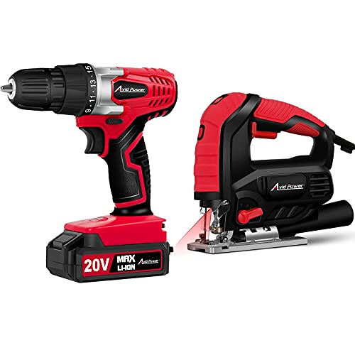 Avid Power 20V Cordless Drill Set Bundle with 7.0A 3000 SPM Jig Saw
