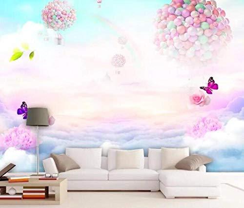 3D vliesbehang foto vlies premium kinderkamer achtergrond wanddecoratie grote wandfoto 3D wallpaper droom Rose vlinder regenboog hemel fotobehang 300*210 300 x 210 cm.