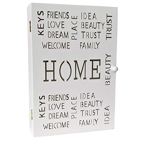 Caja de llaves caja de madera 'Bienvenido' blanco 22x7x32cm, 6 ganchos para llaves