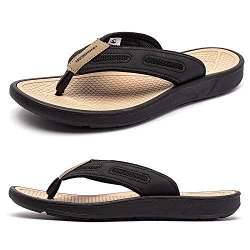 ODOUK Mens Sport Thong Sandals Indoor and Outdoor Casual Beach Flip Flops(Beige,men 11)