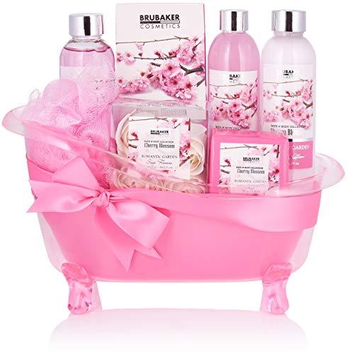 BRUBAKER Cosmetics - Coffret de bain - Fleur de cerisier - 8 Pièces - Baignoire décorative - Rose/Pink - Idée cadeau