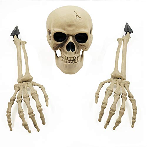 SUNYPLAY Halloween Realistic Skeleton Stakes,Ground Breaker Skull Skeleton Head and Arms for Lawn...